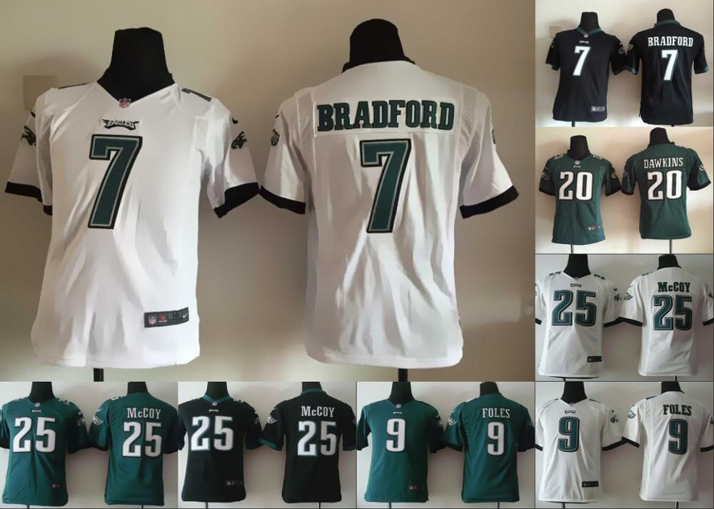 100% stitched youth Philadelphia Eagles children 7 Sam Bradford 12 Randall Cunningham 25 LeSean McCOY 20 Brian Dawkins(China (Mainland))