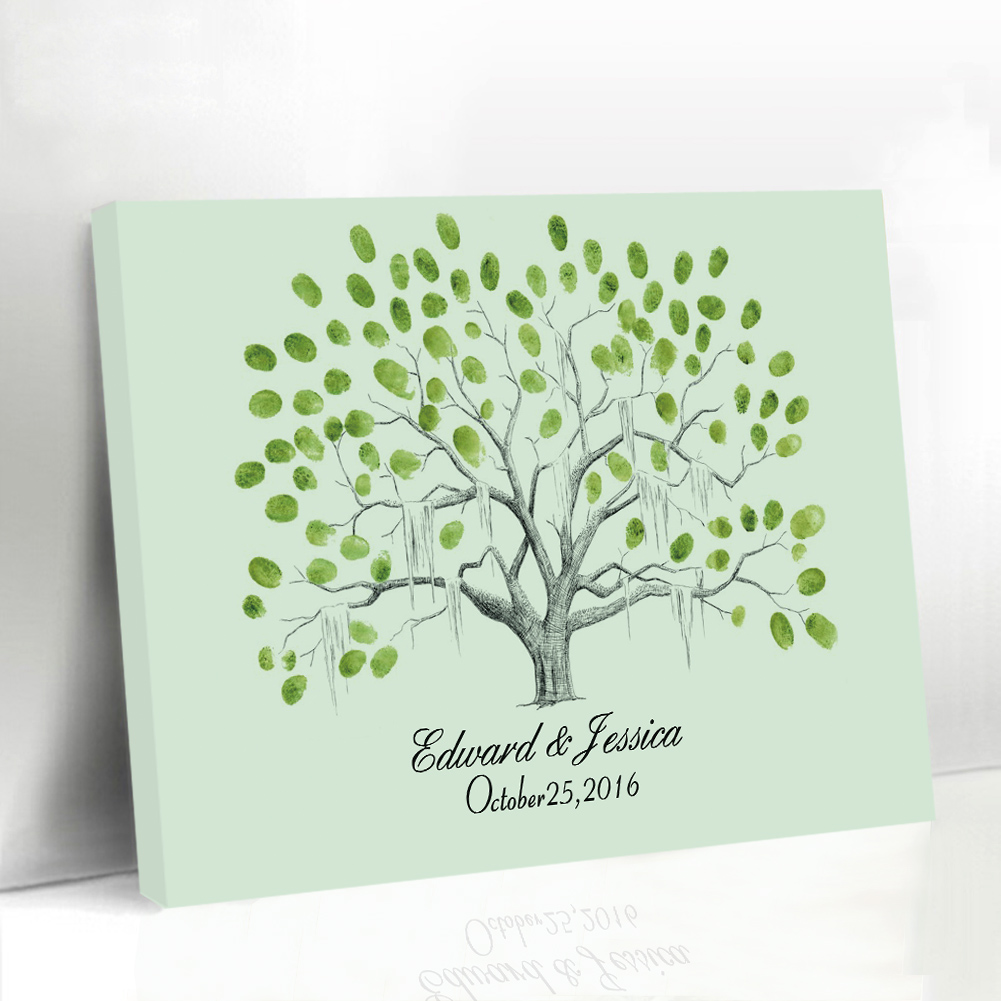 Wedding Guest Book Alternatives Framed Canvas Printing Poster Fingerprint Signature Guestbook Bridal Present Engagement Gifts(China (Mainland))