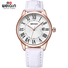 WEIQIN Magnifying Glass Date Fashion Watches Women Rose Gold Case Leather Strap Watch Ladies Roma Index reloje mujer relogios
