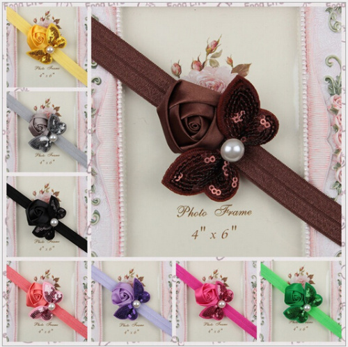 12 colors Baby Girls Mini Sequin Bow Headbands Satin Ribbon Rose Flower Headbands Infant Baby Hair Bow Hairband retail&wholesale(China (Mainland))