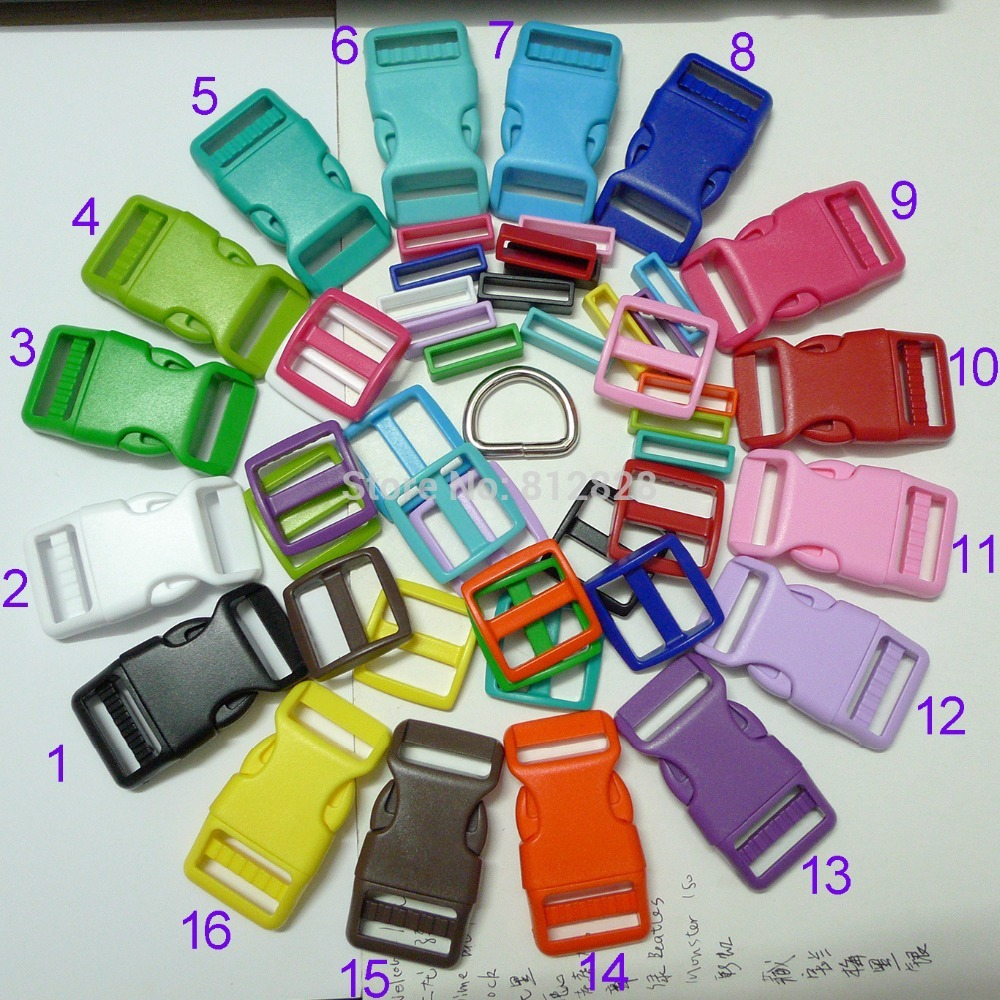 160 Sets 1'' 25mm 16 COLORS MIX Dog Collar Hardware Curved Side Release Buckle Set(China (Mainland))