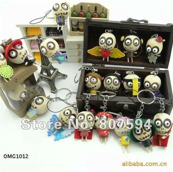 retail 2pcs/lot Wooden & Wacky Voodoo Doll Toy JU0155 Forest Ghost Toy Cell Phone Charm
