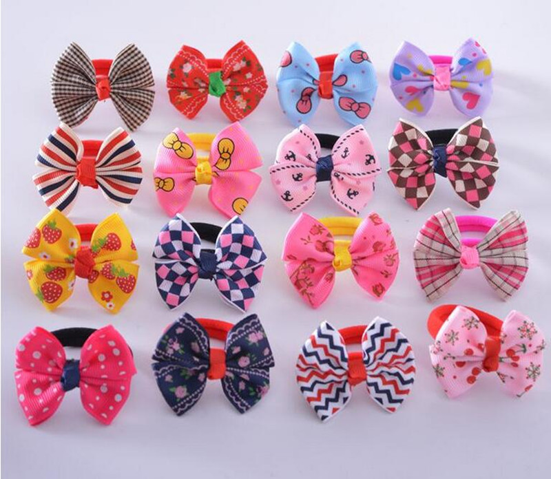 10pcs/lot 2016 korean Butterfly Bow Flower Print Elastic Hair Rope Bands Baby Girls Ponytail Holder Hair Accessories Headwear(China (Mainland))