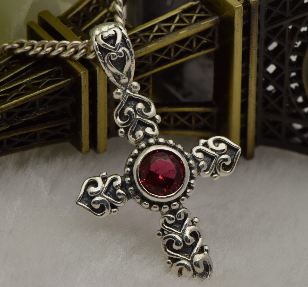 Free shipping product 2015 punk fashion retro romantic woman 925 sterling silver cross ruby pendant carving decorative pattern(China (Mainland))