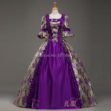 purple Medieval Renaissance ruffles floral Gown queen Dress Victorian Gothic/Marie Antoinette/civil war/Colonial Belle Ball