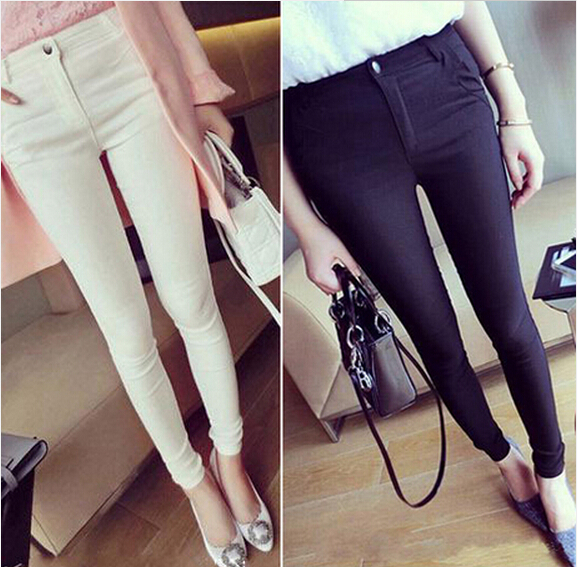Hot High Quality 2015 Spring New Arrival Plus Size Women Was Thin Pants Feet Pencil Pants High Stretch Full Length Free Shipping(China (Mainland))