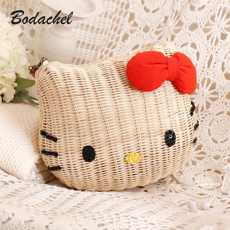 HELLO KITTY handbags rattan straw bag girls beach bag 4 sizes cartoon character fabric free shipping<br><br>Aliexpress