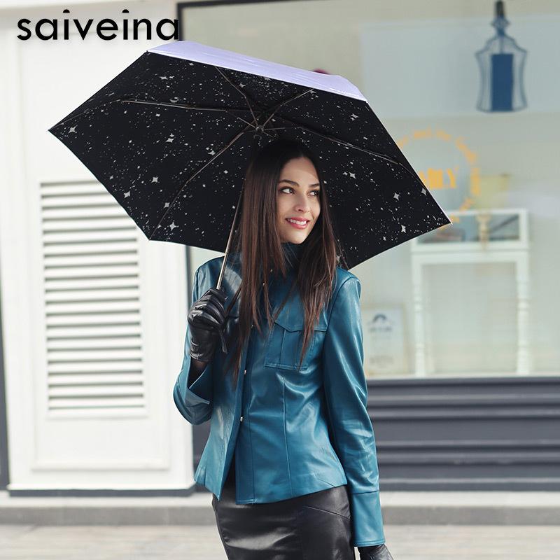 High quality women floding umbrella creative sunny use travel anti UV folding windproof umbrellas SV3232(China (Mainland))