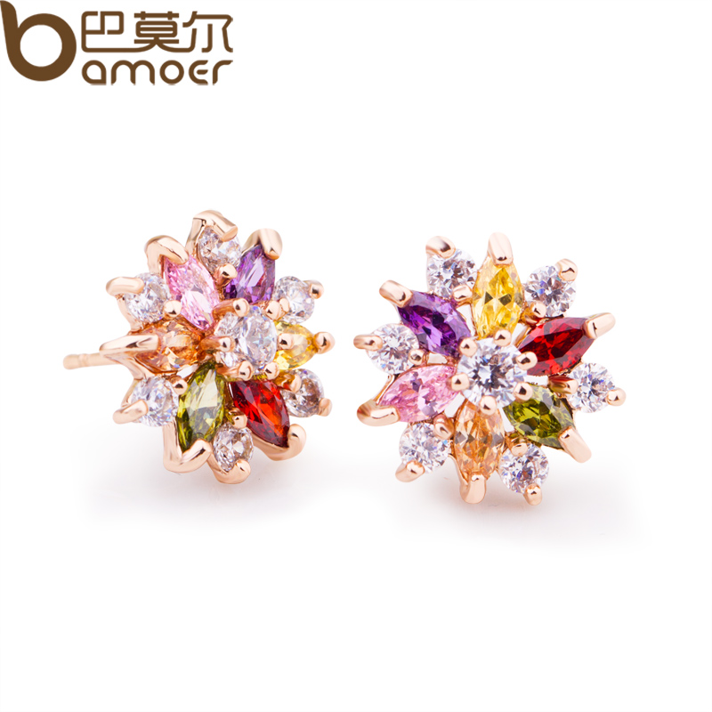 BAMOER 18K Real Gold Plated Gold Star Stud Earrings with Multicolor Zircon Stone For Women Birthday Gift Jewelry JIE018(China (Mainland))