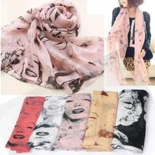 New Korean Fashion Stylish Women Ladies Pretty Marilyn Monroe Head Print Chiffon Scarf Shawl Wrap Spring Autumn#L03376(China (Mainland))