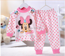 hot selling  In stock 2 pcs baby Unisex sleepwear suits toddler cartoon pajama Children 100% cotton long sleeve pajamas set(China (Mainland))