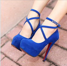 Spring and autumn 2015. The new cross buckle high heels shoes waterproof shoes large yards fashion women shoes a123(China (Mainland))