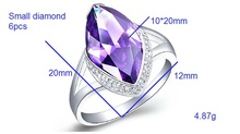 Women Wedding Rings Joyas De Plata 925 Ornaments of Silver Purple Red Simulated Diamond Ruby Jewelry
