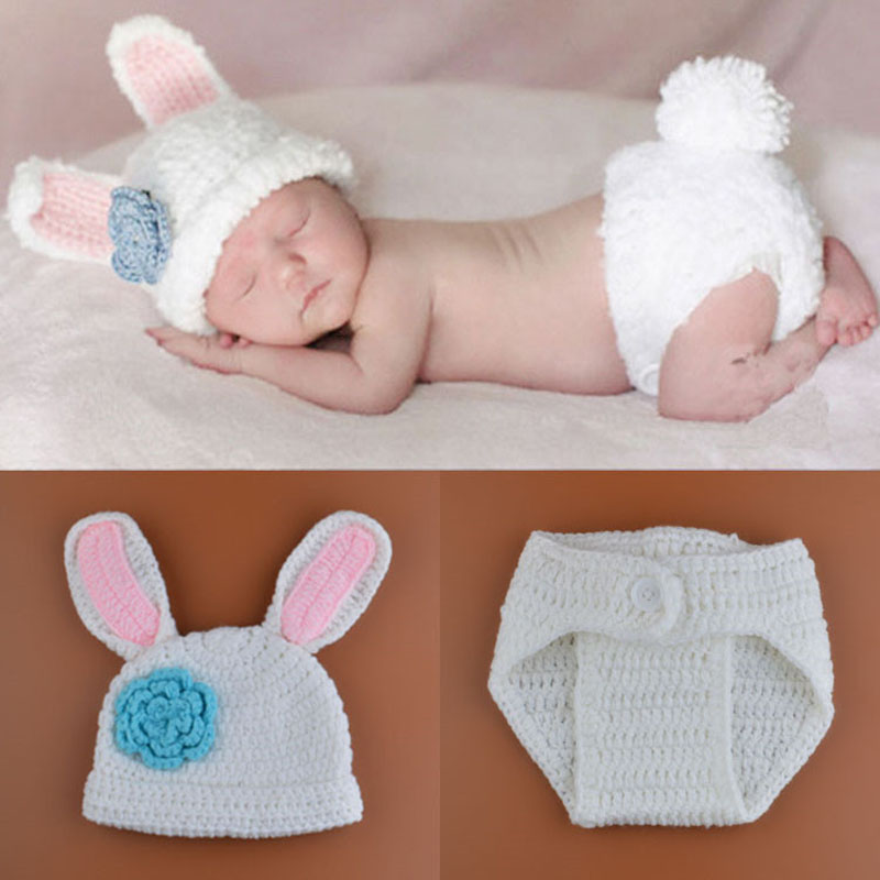Free Crochet Pattern For Bunny Ears And Diaper Cover : 2015 New Crochet Baby Bunny Rabbit Hat and Diaper Cover ...