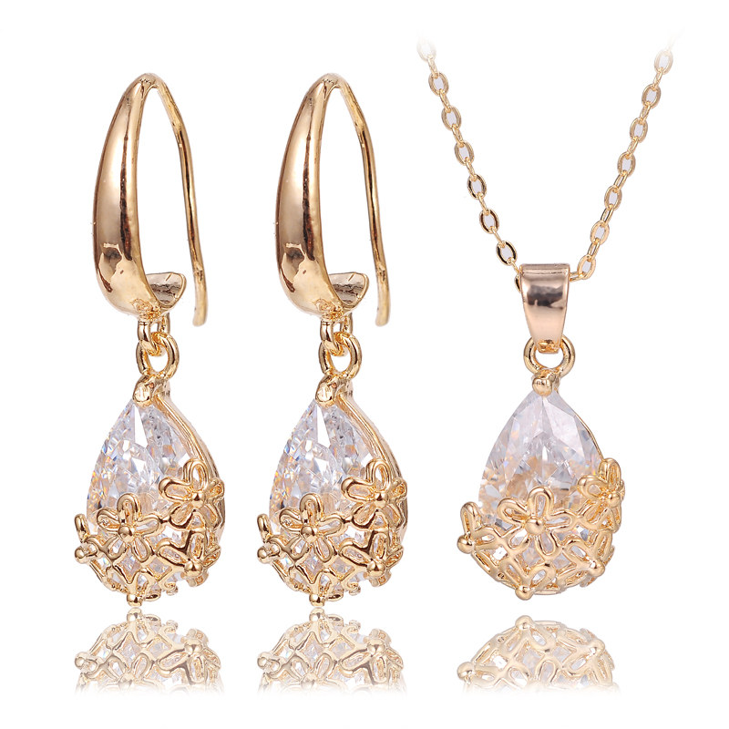 2016 trending necklaces earing sets man-made zircon stone premier designs oscar earrings necklace jewelry 2 pcs set for stars(China (Mainland))