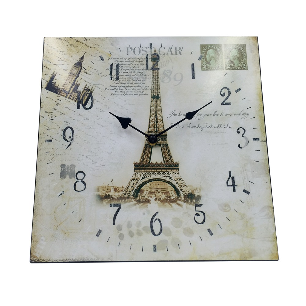 Brand Hippih 12 Inch Vintage France Paris Colourful French Country Tuscan Style Paris Wood Wall Clock Arabic Numbers wall clocks(China (Mainland))