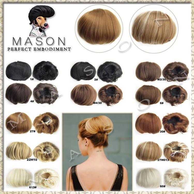 Bride Hair Bun Chignon hair Pieces Ombre Hair Pad Rambut Peluca Peruca Sintetica Cabelo(China (Mainland))