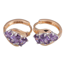 Glamorous Multi-tone Gold Round Purple Zircon stones Cluster Brand Fashion Amethyst earrings for womens E332(China (Mainland))