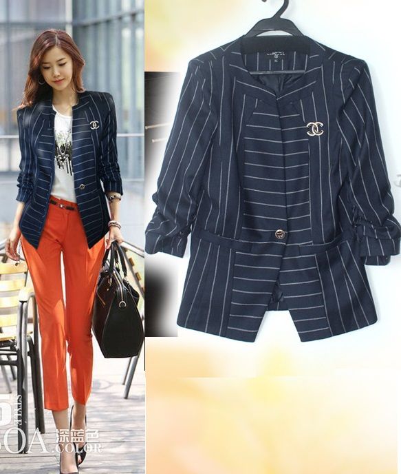 High Quality New Korean Fashion Blazer Coats 2015 Autumn Women Striped Print One Button Jacket OL Business Ladies Work Suit(China (Mainland))