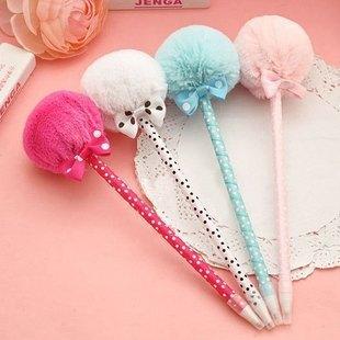 2015 new hot Student prizes creative promotional pens, balls plush ballpoint pen, cute ball-point pens school supplies canetas(China (Mainland))