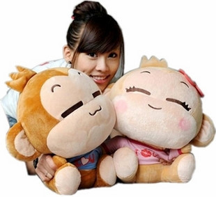 yoyo and cici smile happy monkeys hiphop monkeys 30cm plush toy lovers doll a piar as picture Christmas gift t4533(China (Mainland))
