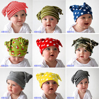 Baby Fashion Ox Horn Hat Infant Boy Girl Cotton Cap Toddlers Spring Autumn Beanies Cute Stripe & Dots Design Free Drop Shipping
