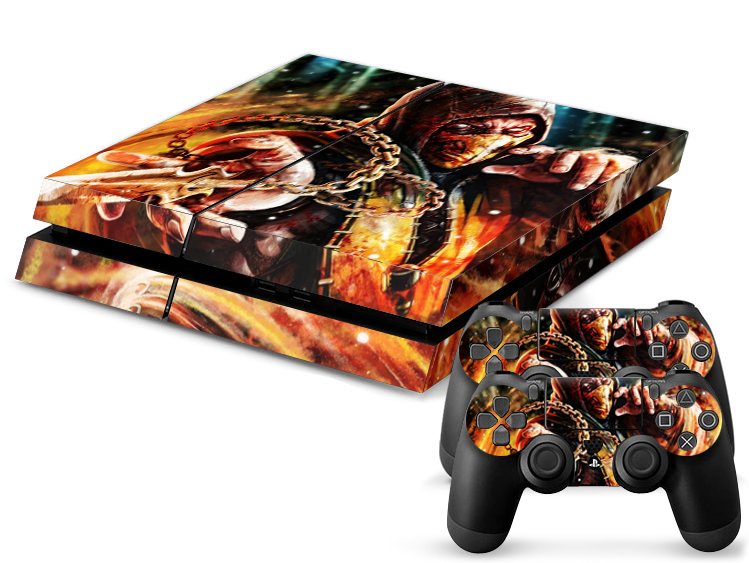 For PS4 Mortal Kombat Hero PVC Protection Decal Skin Cover Case Sticker For Sony Playstation 4 Console+2 Controllers(China (Mainland))