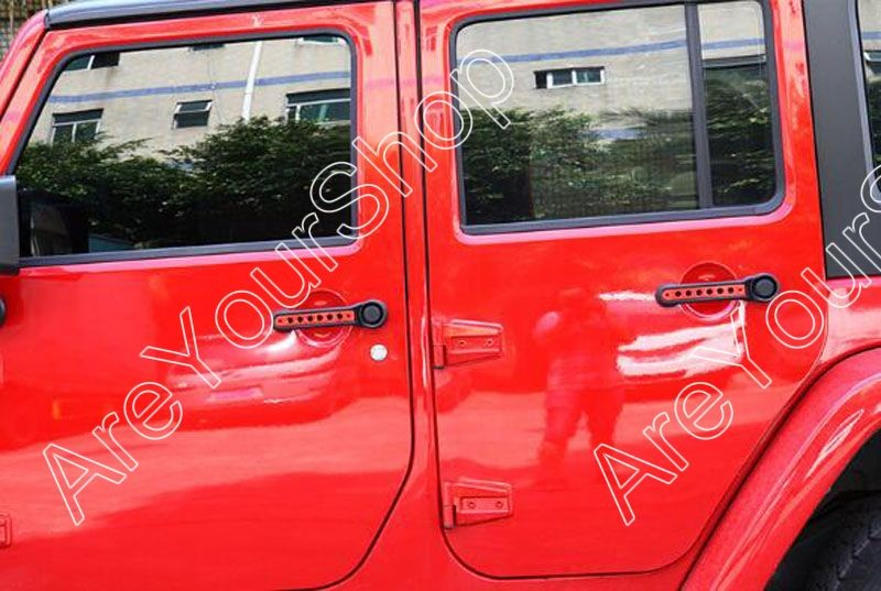 Купить Продажа 5 шт./компл. Для Jeep Wrangler JK 07-16 Неограниченное 4 Двери Автомобиля Ручки Задней Двери Алюминиевой Обшивки Крышки