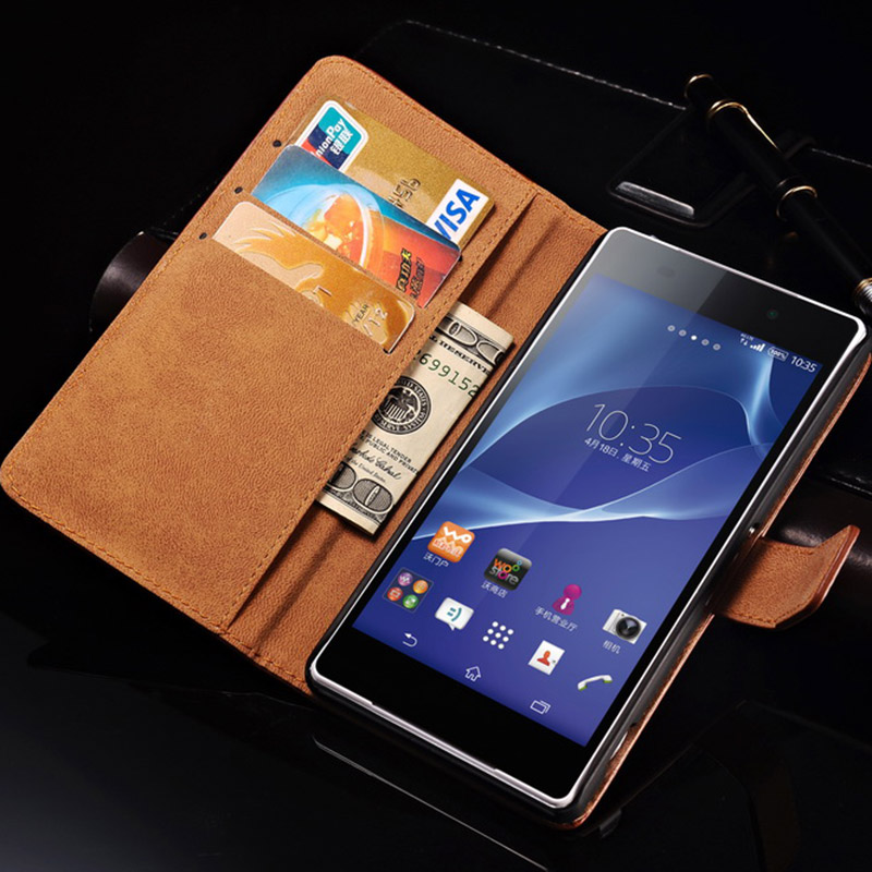 Real Leather Stand Design Case Sony Xperia Z2 D6502 L50W L50 Luxury Book Flip Cover Card Slot 2 Styles - Tomkas Official Store store