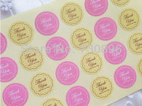Free Shipping! Thank You Seal Stickers,Pink & Yellow Kraft Seal Label,Thanks You Labels 25sheets/lot, Diameter 2.7CM 600pcs/lot
