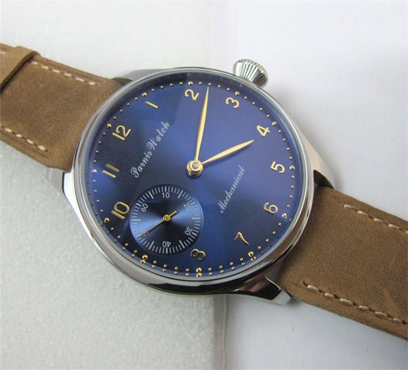 Новый 44 мм Парнис Рука Обмотки Механические мужские Наручные Часы Темно-Синий Циферблат