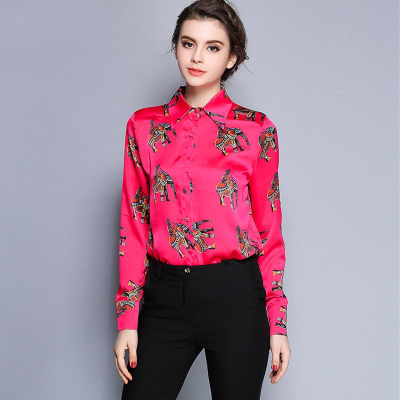High Quality Fabric Plus Size Women Tops New 2016 Fashion Turn-down Collar Long Sleeve Print Casual Blouses Women Shirts(China (Mainland))