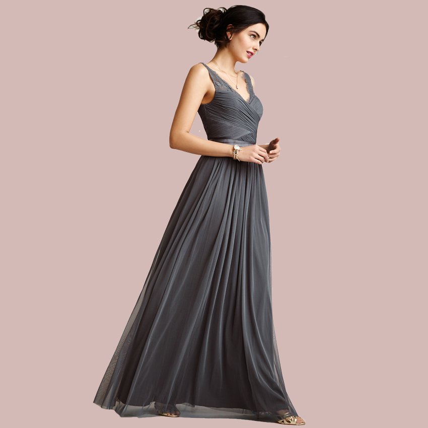 Sexy Long Grey Bridesmaid Dresses 2015 New Arrive Lace V Neckline Pleated Floor Length Bridesmaids Dress Cheap Party - xlbutterfly store
