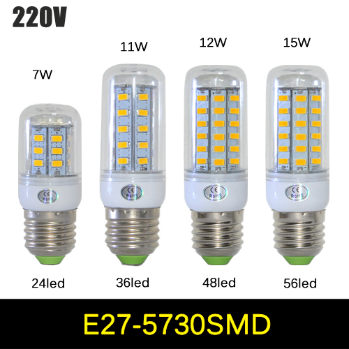 1Pcs SMD 5730 E27 LED lamp 7W 11W 12W 15W AC 220V Ultra Bright 5730SMD LED Corn Bulb light Chandelier 24LED,36LED,48LED,56LED(China (Mainland))