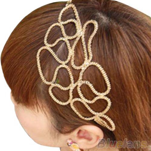 Lovely New Metallic Gold Braid Braided Hollow Elastic Stretch Hair Band Headband 02H9 339X(China (Mainland))