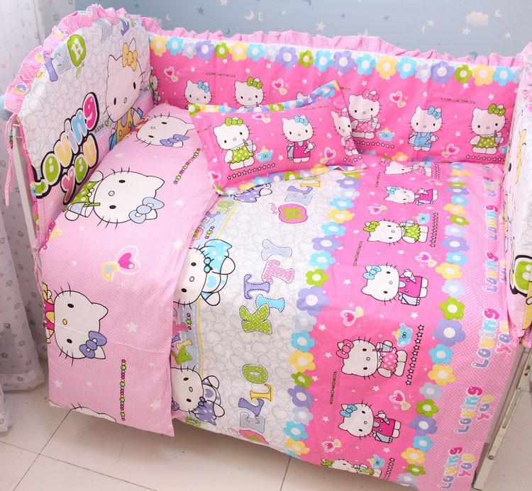 Discount! 6pcs Hello Kitty Baby Bedding Set Boy Baby Bumper Cradle Cot Linen ,include (bumper+sheet+pillowcase)(China (Mainland))
