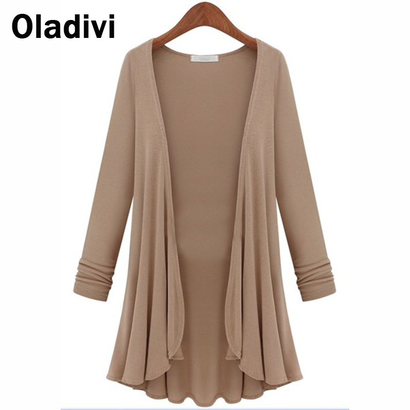 Plus Size Ladies Clothing Europe and America Women Shirt Solid Color Loose Long-Sleeved Female Kimono Cardigan Casual Blouse Top(China (Mainland))