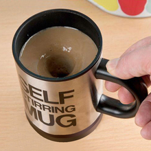 1PCS Free Shipping Novelty Lazy automatic electric Self Stirring Mug Stainless Steel Tea Coffe Office Auto Mixing Cup