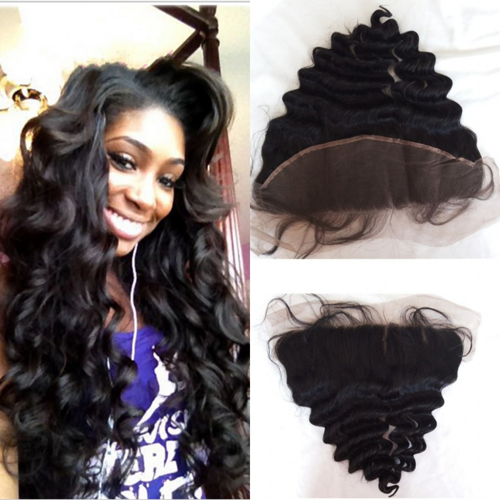 13*4 Ear To Ear Lace Frontal Closure With Hidden Knot Loose Wave Virgin Brazilian Full lace Frontal Closure With Baby Hair(China (Mainland))