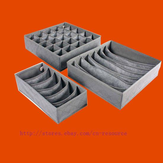 Sock Bras Shorts Storage Closet Organizer Box set(3pcs)(China (Mainland))