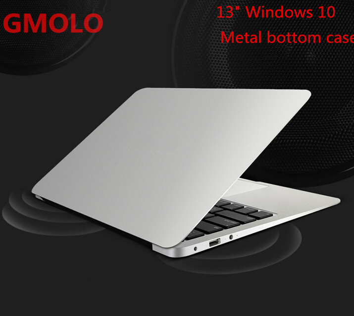 13.3inch windows 10 ultrabook laptop computer 2GB 64GB EMMC 1920*1080 HD screen aluminium back case notbook PC(China (Mainland))