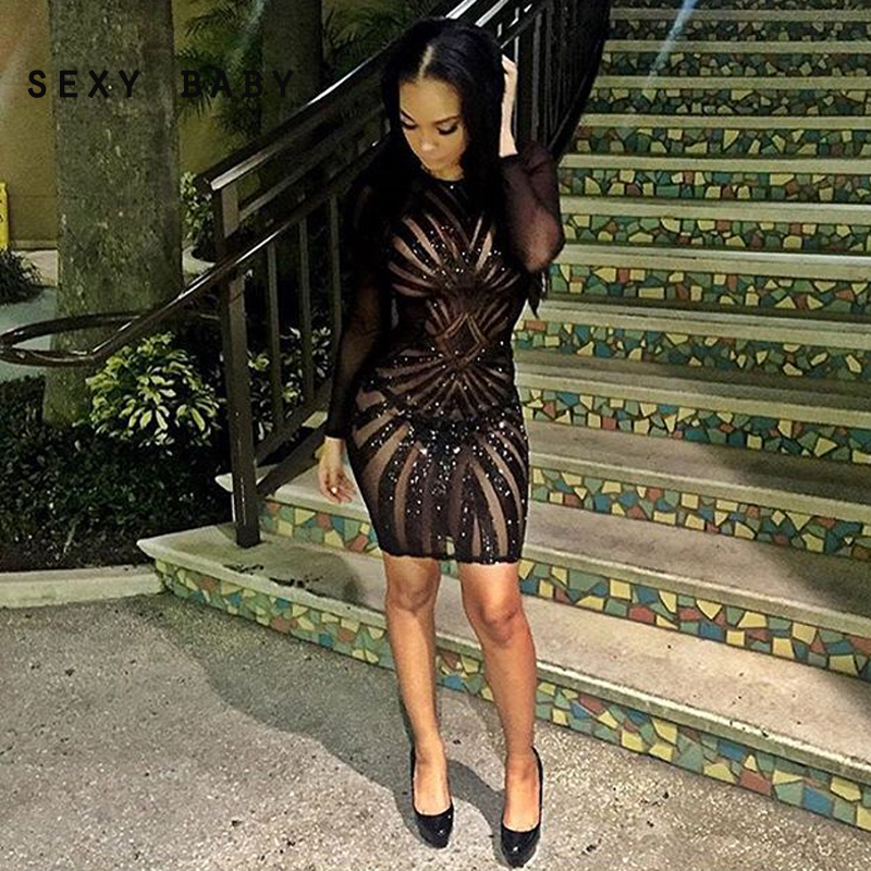 Buy sexy women lace party club black 3 4 sleeves sequin mini dress at