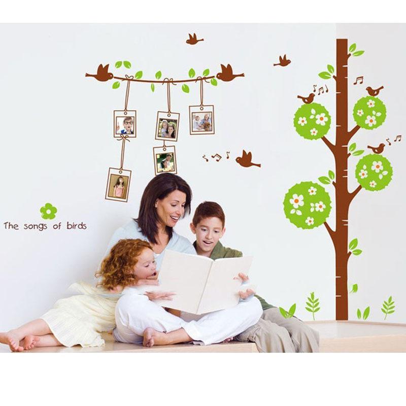 Tree green leaves bird photo frame wall sticker diy home for Bird wallpaper home decor