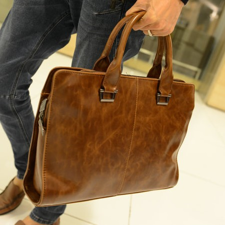 2013 briefcase casual bag big handbag men messenger bag male leather bags brown color carteras bolsos(China (Mainland))