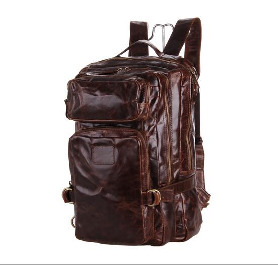 Real Genuine leather men backpacks  mens backpacks men travel bag leather backpack laptop bags tote shoulder bag business 2015<br><br>Aliexpress