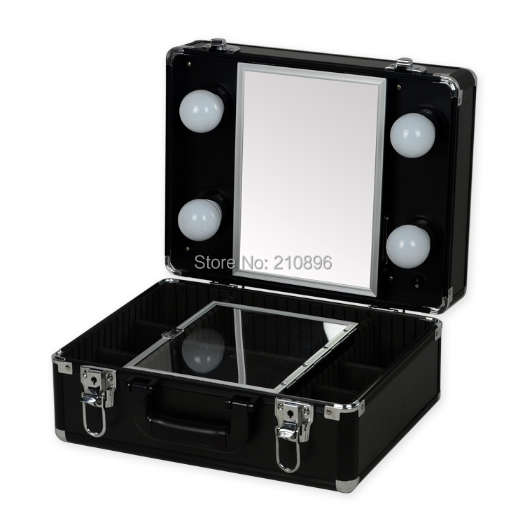 high quality new type portable makeup case with lights light weight makeup box with mirror black. Black Bedroom Furniture Sets. Home Design Ideas