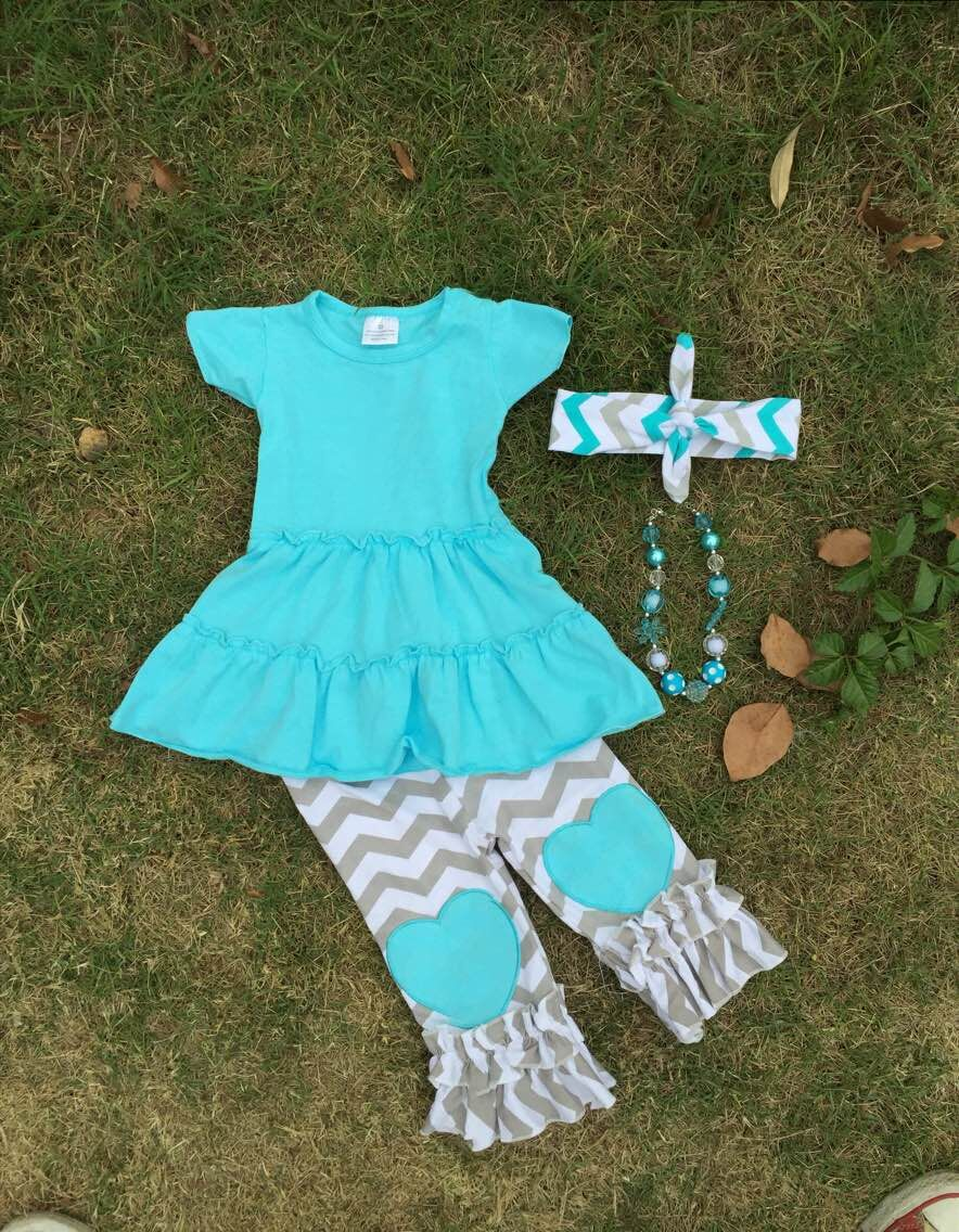 2015 hot sell heart print capri set spring cotton capri set ruffle boutique clothes with matching headband and necklace