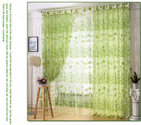 Fresh green floral window screening sheer bedroom/balcony tulle curtain decorative organza fabric