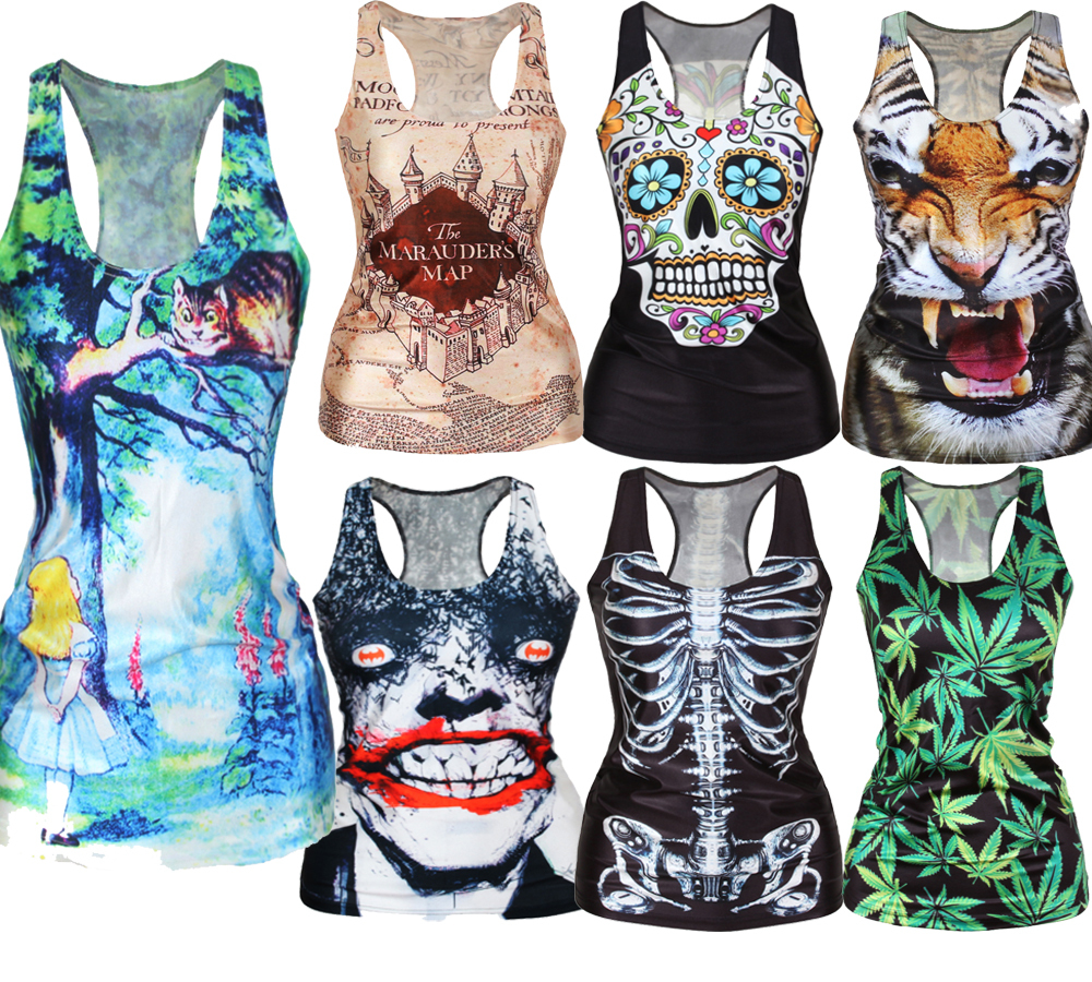 EAST KNITTING Free Shipping summer new 2015 women t-shirt RIBS 3D Vest tops Skull bone Camisole Sexy Tank top(China (Mainland))