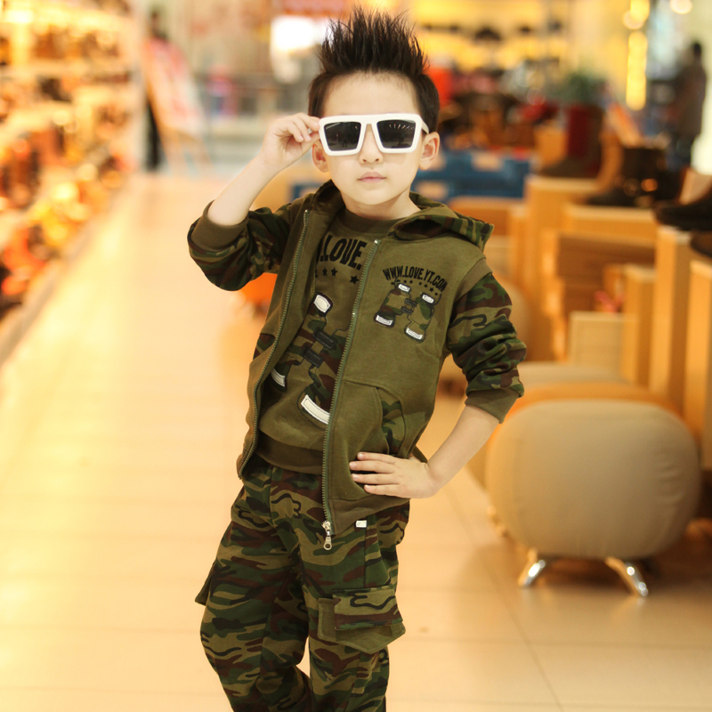 Real Photo! Hot 2016 new Children's clothing male child spring autumn military camouflage sweat shirt 3 piece set Free shipping(China (Mainland))